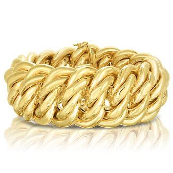 "14K Gold 09"" Polished 33mm Americana Bracelet"