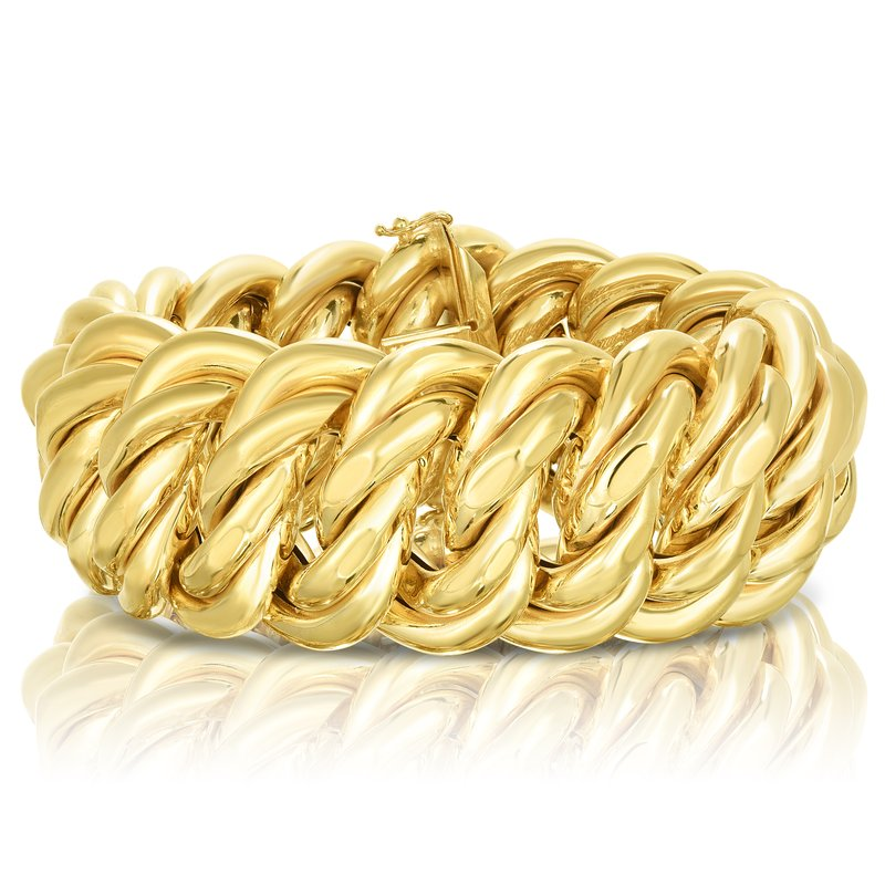 "Royal Chain 14K Gold 09"" Polished 33mm Americana Bracelet"