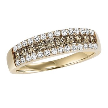 14K Browm & White Diamond Band 1 ctw