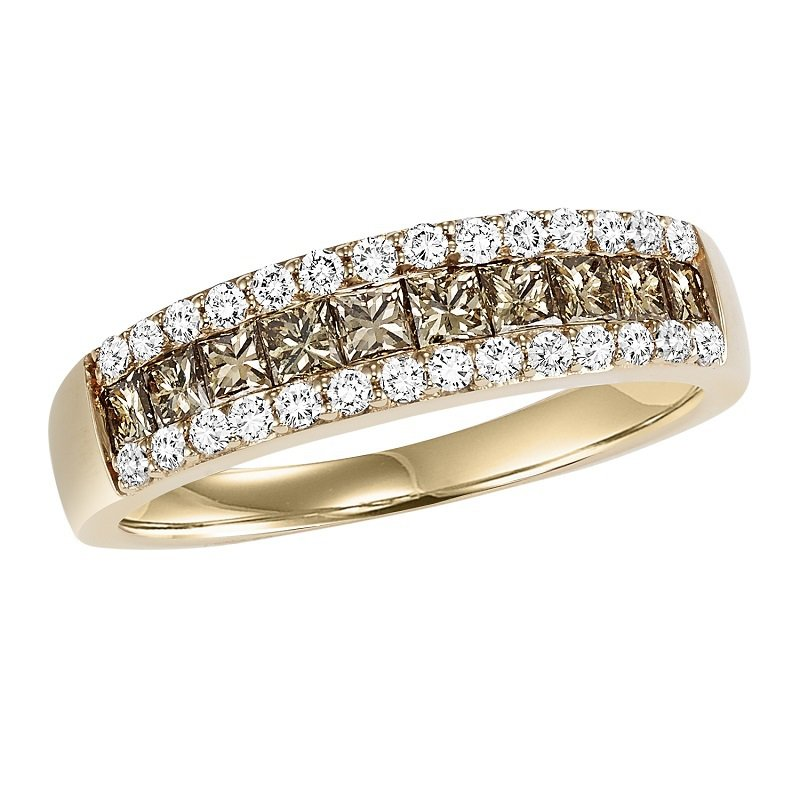 Bridal Bells 14K Browm & White Diamond Band 1 ctw