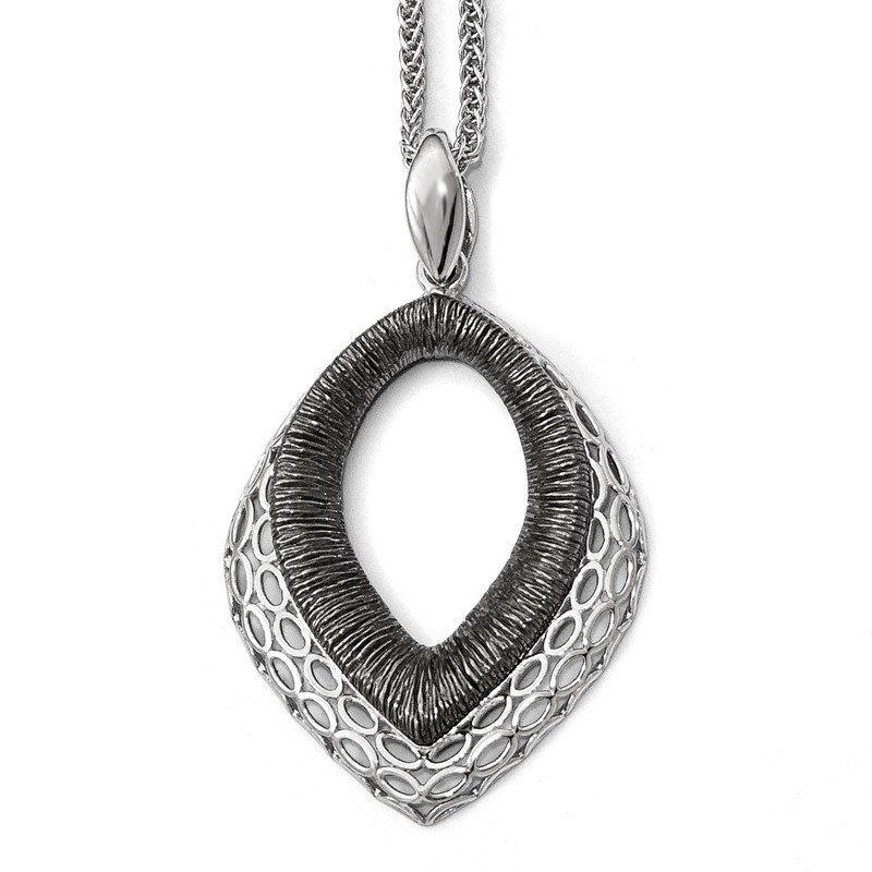 Leslie's Leslie's Sterling Silver Polished/Textured Ruthenium-plated Pendant