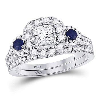 14kt White Gold Womens Princess Diamond Royal Sparkle Bridal Wedding Engagement Ring Band Set 1.00 Cttw