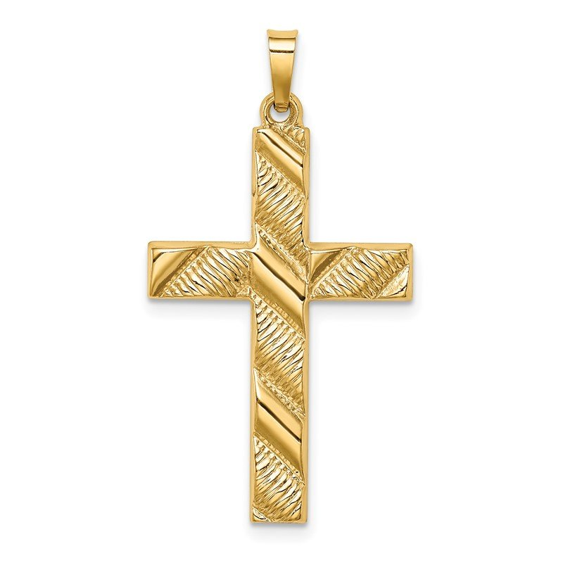 Quality Gold 14k Hollow Polished Textured Latin Cross