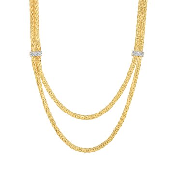 14K Gold Woven Layered Diamond Necklace