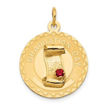 14k GRADUATION DAY Charm with Red Synthetic Stone Charm