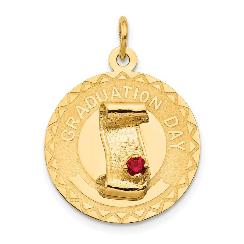 Quality Gold 14k GRADUATION DAY Charm with Red Synthetic Stone Charm