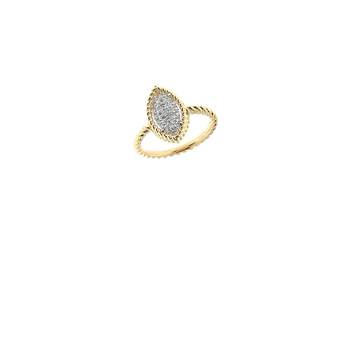 18Kt Yellow And White Gold Marquis Ring With Diamonds