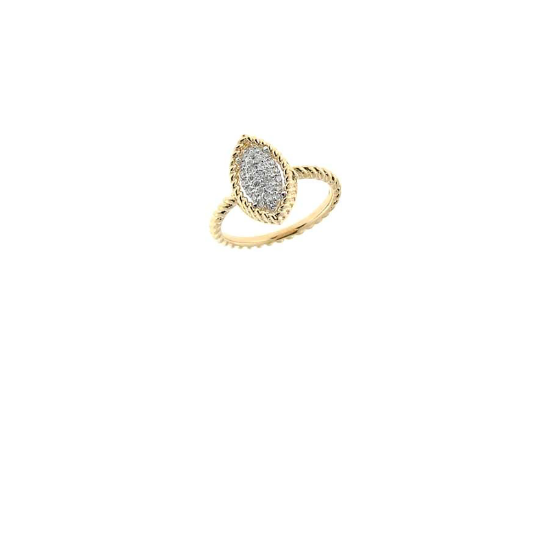 Roberto Coin 18Kt Yellow And White Gold Marquis Ring With Diamonds