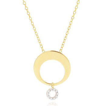 Yellow gold diamond Affair crescent loop necklace