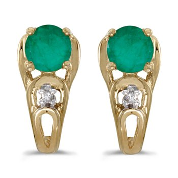 14k Yellow Gold Round Emerald And Diamond Earrings