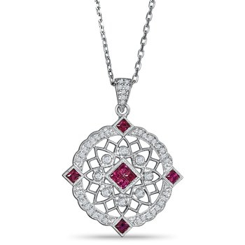 Sterling sliver pendant with diamonds (0.13ct) and rubies (0.48ct)