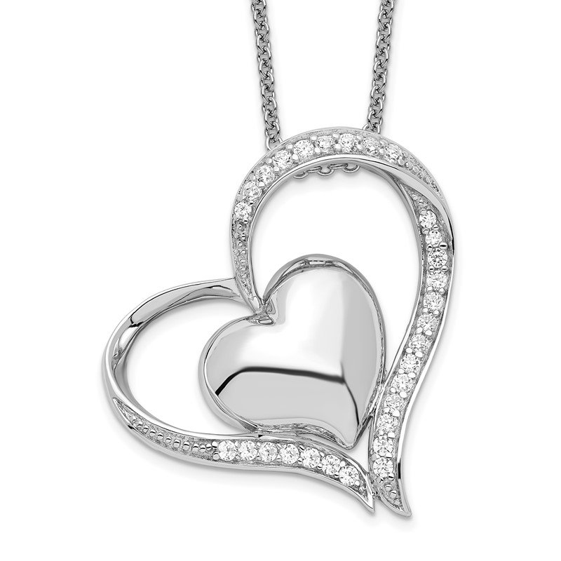 Quality Gold Sterling Silver & CZ In My Heart 18in Necklace