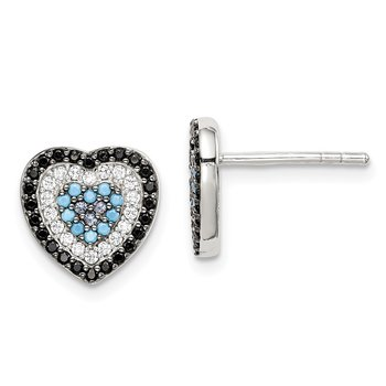 Sterling Silver Black, White & Blue CZ Heart Post Earrings