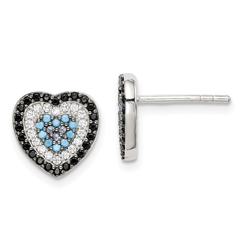 Quality Gold Sterling Silver Black, White & Blue CZ Heart Post Earrings