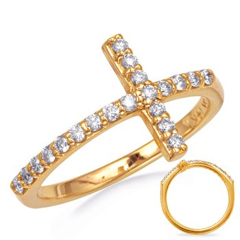 Yellow Gold Cross Ring  2.0mm