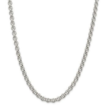 Sterling Silver 6.5mm Semi-solid Rolo Chain