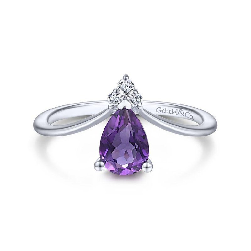 Gabriel Fashion 14K White Gold Teardrop Amethyst and Diamond Triangle Ring