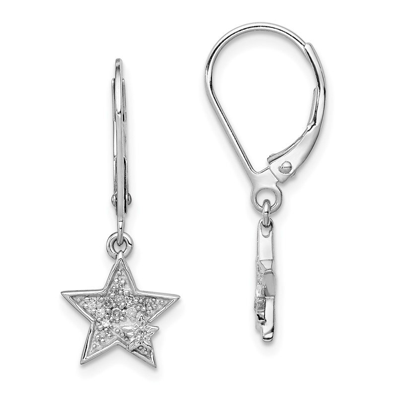 Quality Gold Sterling Silver Rhodium Plated Diamond Star Leverback Earrings