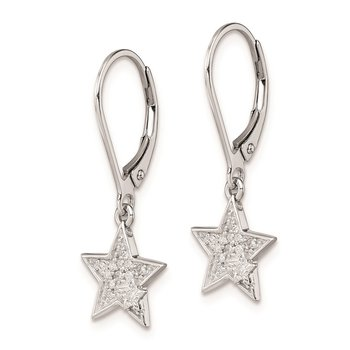 Sterling Silver Rhodium Plated Diamond Star Leverback Earrings