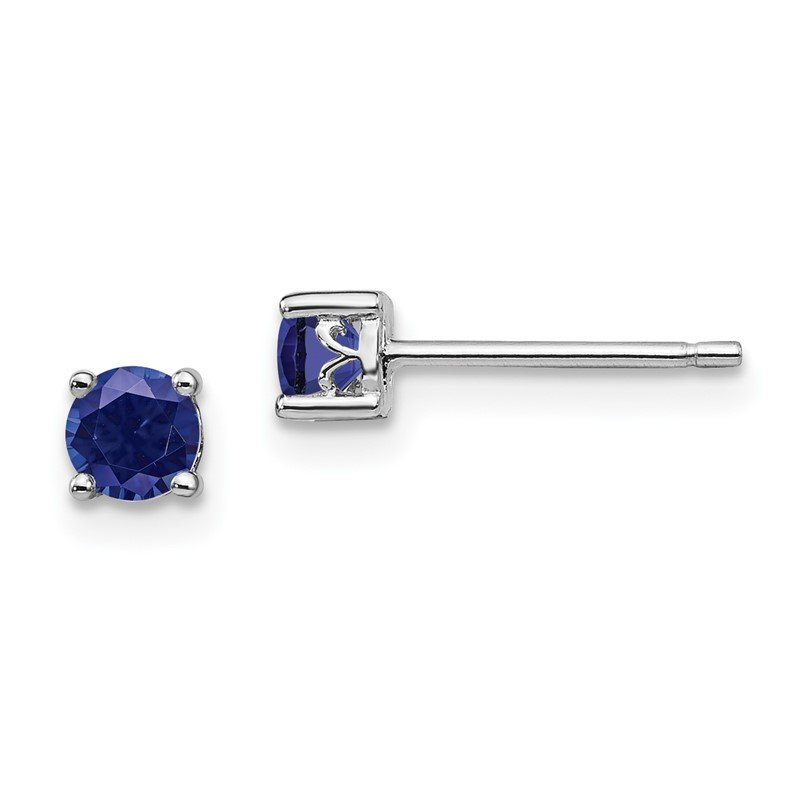 Fine Jewelry by JBD Sterling Silver Rhodium-plated 4mm Round Created Sapphire Post Earrings