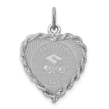 Sterling Silver Rhodium-plated Graduation Cap & Diploma Disc Charm