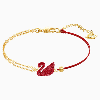 Iconic Swan Bracelet, Red, Gold-tone plated