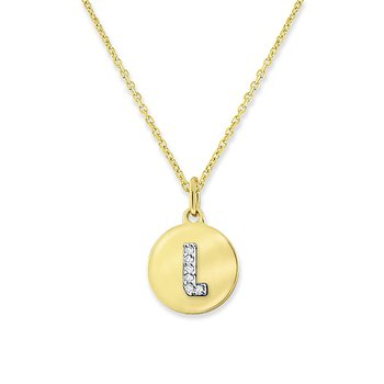 "Diamond Mini Disc Initial ""L"" Necklace in 14k Yellow Gold with 6 Diamonds weighing .02ct tw."