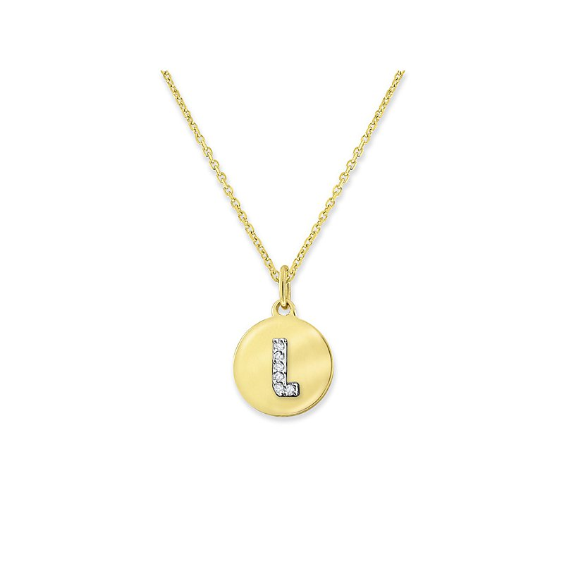 "KC Designs Diamond Mini Disc Initial ""L"" Necklace in 14k Yellow Gold with 6 Diamonds weighing .02ct tw."