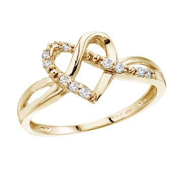14K Yellow Gold .10 Ct Diamond Heart Ring
