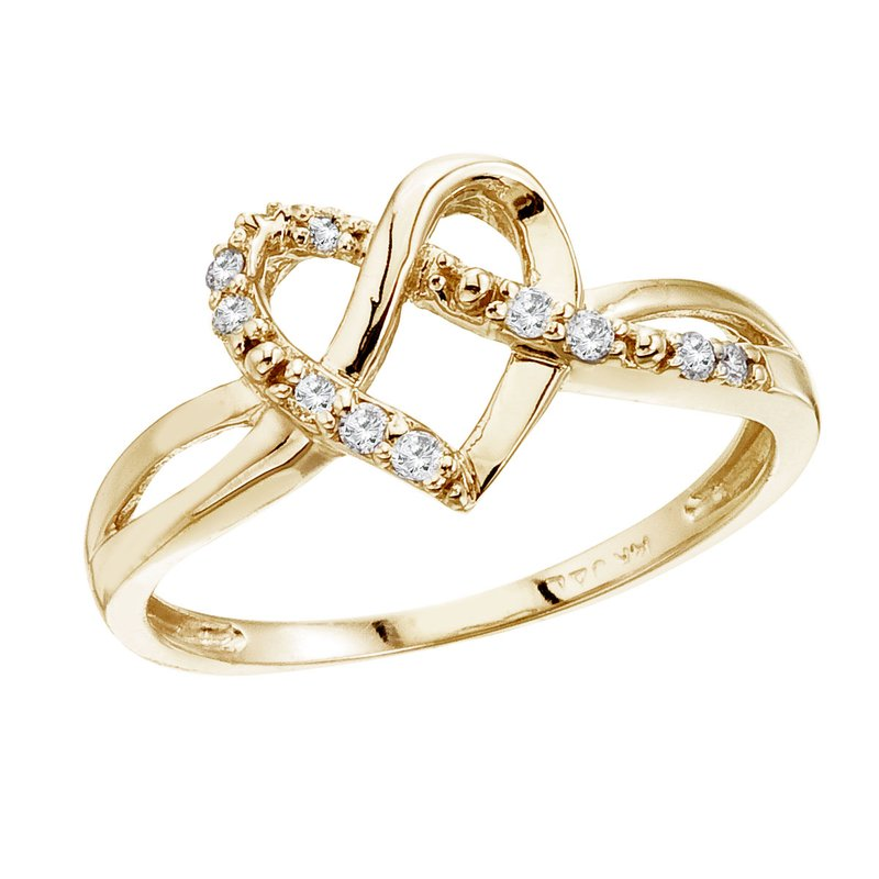 Color Merchants 14K Yellow Gold .10 Ct Diamond Heart Ring