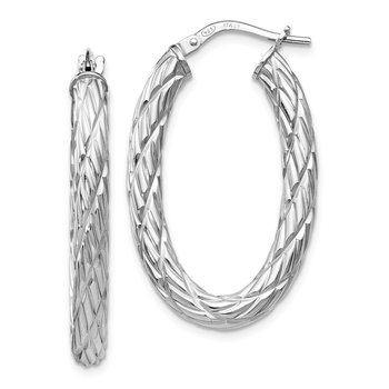 Leslie's' Sterling Silver Polished Textured Hoop Earrings