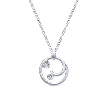 925 Sterling Silver Diamond Swirl Pendant Necklace