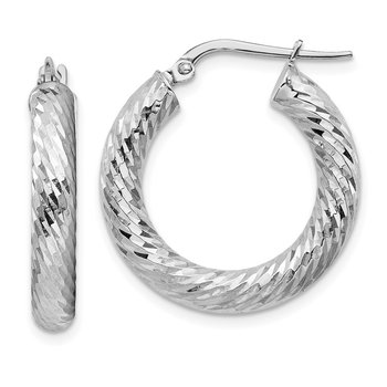 14k 4x15mm White Gold Diamond-cut Round Hoop Earrings