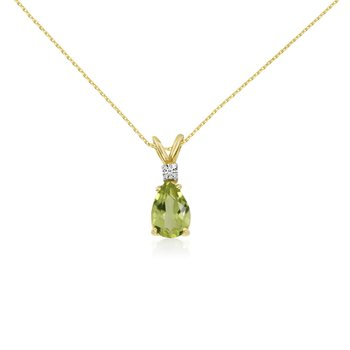 14k Yellow Gold 7X5 Aquamarine Pear and Diamond Pendant
