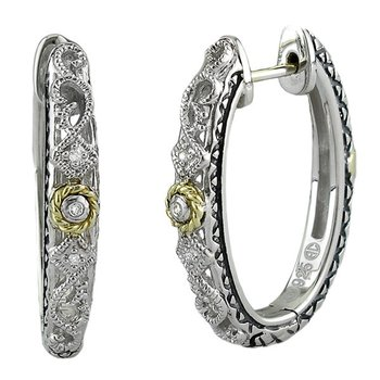 18kt and Sterling Silver Filigree Diamond Hoop Earrings