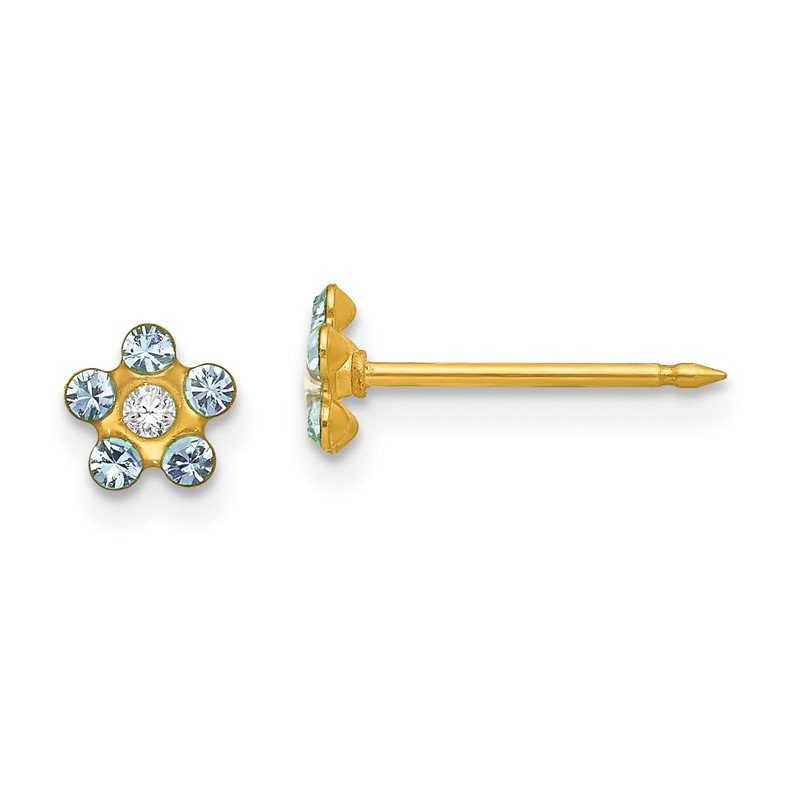 Quality Gold Inverness 14k March Lt Blue Crystal Birthstone Flower Earrings