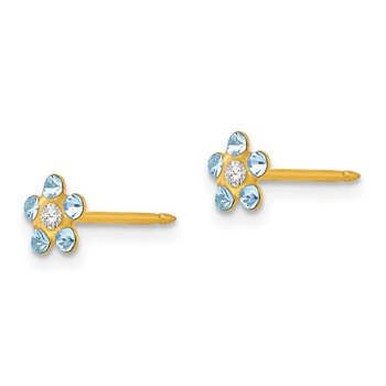 Inverness 14k March Lt Blue Crystal Birthstone Flower Earrings