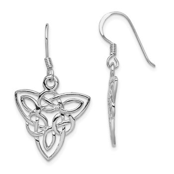 Sterling Silver Rhodium-plated Polished Celtic Knot Dangle Earrings