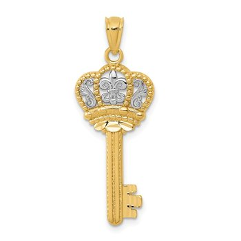 14K w/White Rhodium Polished Fleur De Lis Crown Key Charm