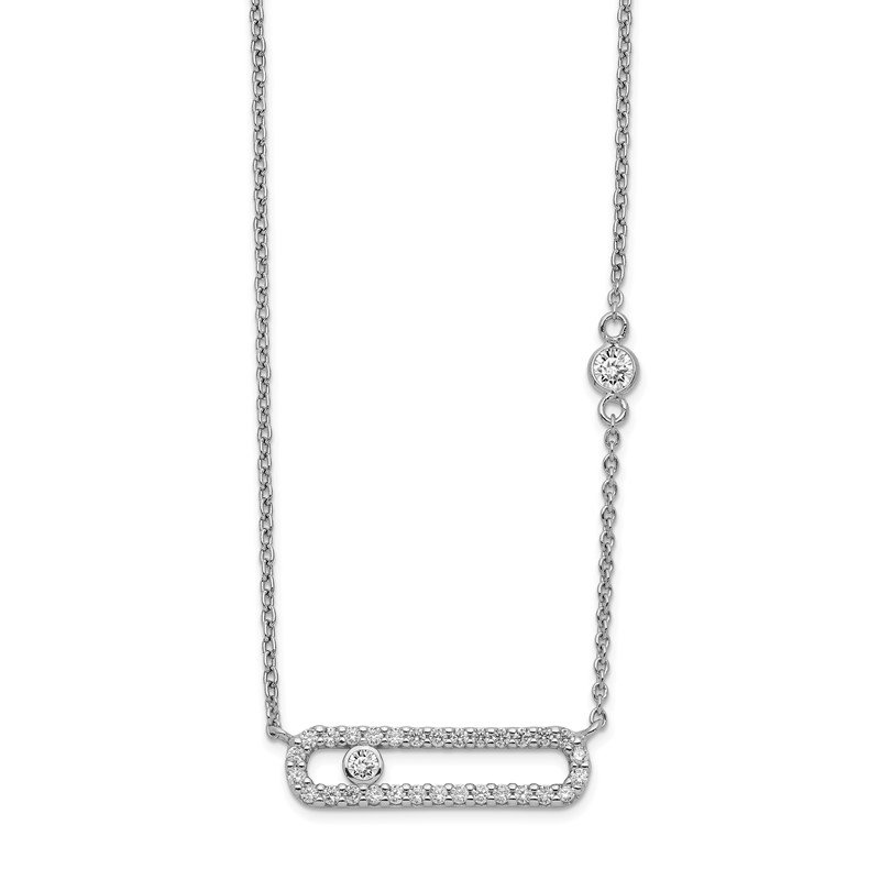 JC Sipe Essentials Sterling Silver Rhodium Plated CZ Fancy Bar Necklace