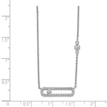 Sterling Silver Rhodium Plated CZ Fancy Bar Necklace