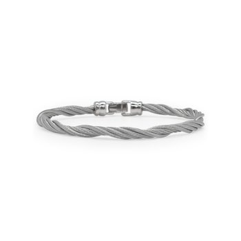 Grey Cable Modern Twist Bracelet