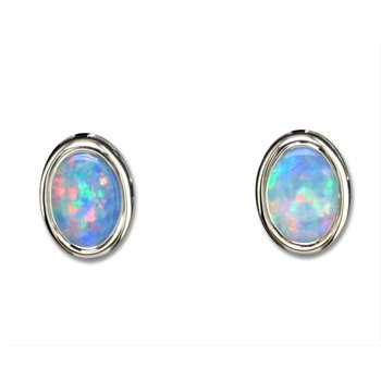 Bezel Set Opal Earrings