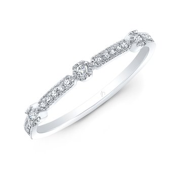 White Gold Milgrain Stackable Band