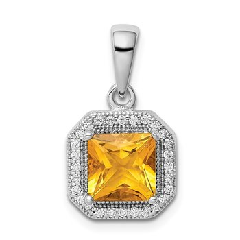 Sterling Silver Rhodium Plated Clear CZ and Square Yellow CZ Pendant