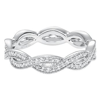 14K White Gold Braid Eternity Wedding Band