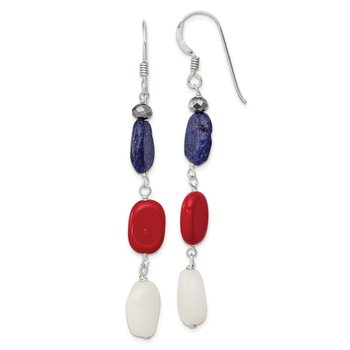 Sterling Silver Red Coral/Crystal/White Jade/Lapis Dangle Earrings