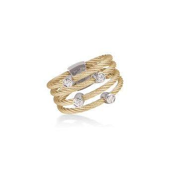 Yellow Cable Petite Satellite Ring with 18kt White Gold & Diamonds