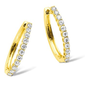 Pave set Diamond Oval Hoops in 14k Yellow Gold (1/4 ct. tw.) HI/SI2-SI3