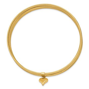 14K Oversized w/ Dangle Heart Set of 7 Slip-on Textured Bangles